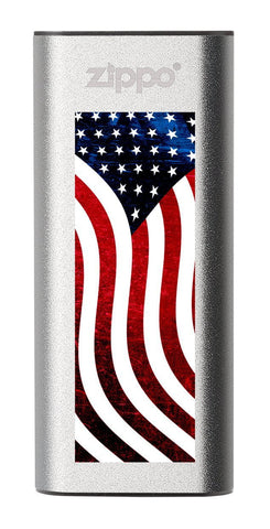 Silver American Flag: HeatBank® 3-Hour Rechargeable Hand Warmer
