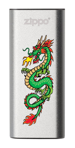 Front of Chinese Dragon: Silver HeatBank® 3-Hour Rechargeable Hand Warmer
