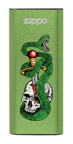 Skull, Snake, &  Dagger: Green HeatBank® 3-Hour Rechargeable Hand Warmer