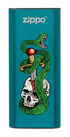 Skull, Snake, &  Dagger: Blue HeatBank® 3-Hour Rechargeable Hand Warmer
