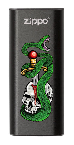 Skull, Snake, &  Dagger: Black HeatBank® 3-Hour Rechargeable Hand Warmer