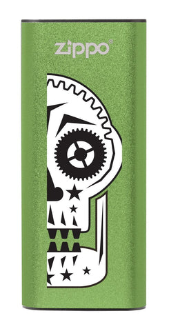 Front of Sugar Skull: Green HeatBank® 3-Hour Rechargeable Hand Warmer