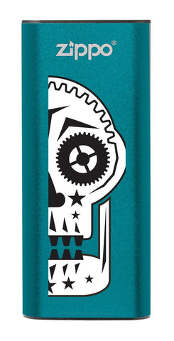 Front of Sugar Skull: Blue HeatBank® 3-Hour Rechargeable Hand Warmer