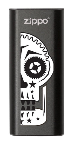 Front of Sugar Skull: Black HeatBank® 3-Hour Rechargeable Hand Warmer