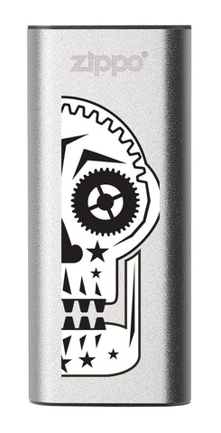 Front of Sugar Skull: Silver HeatBank® 3-Hour Rechargeable Hand Warmer