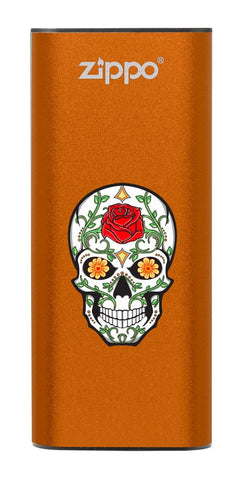 Front of Rose Sugar Skull: Orange HeatBank® 3-Hour Rechargeable Hand Warmer