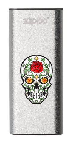 Front of Rose Sugar Skull: Silver HeatBank® 3-Hour Rechargeable Hand Warmer