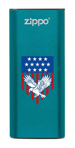 Front of Eagle and American Flag: Blue HeatBank® 3-Hour Rechargeable Hand Warmer