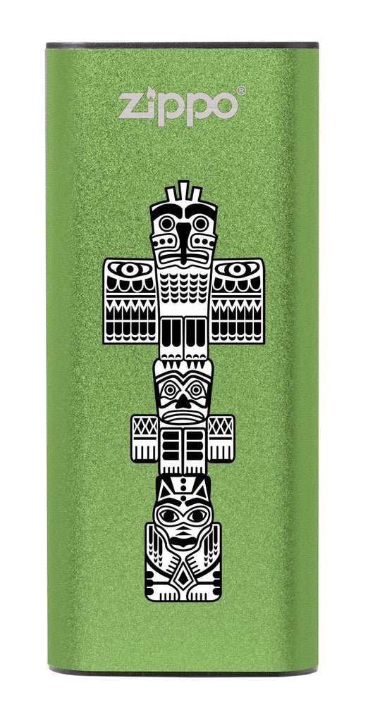 Front of Totem Pole: Green HeatBank® 3-Hour Rechargeable Hand Warmer