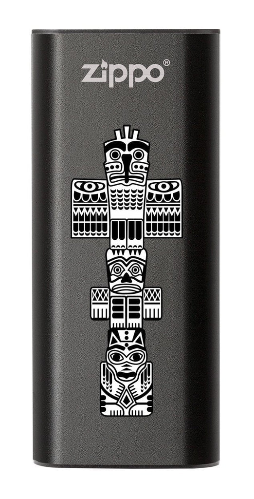 Front of Totem Pole: Black HeatBank® 3-Hour Rechargeable Hand Warmer