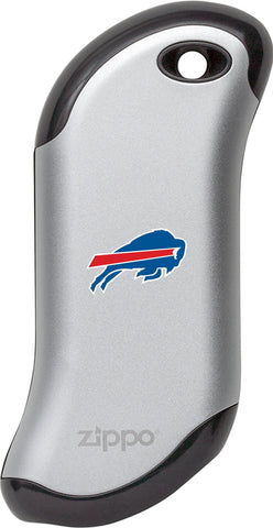 Front of silver NFL Buffalo Bills: HeatBank 9s Rechargeable Hand Warmer