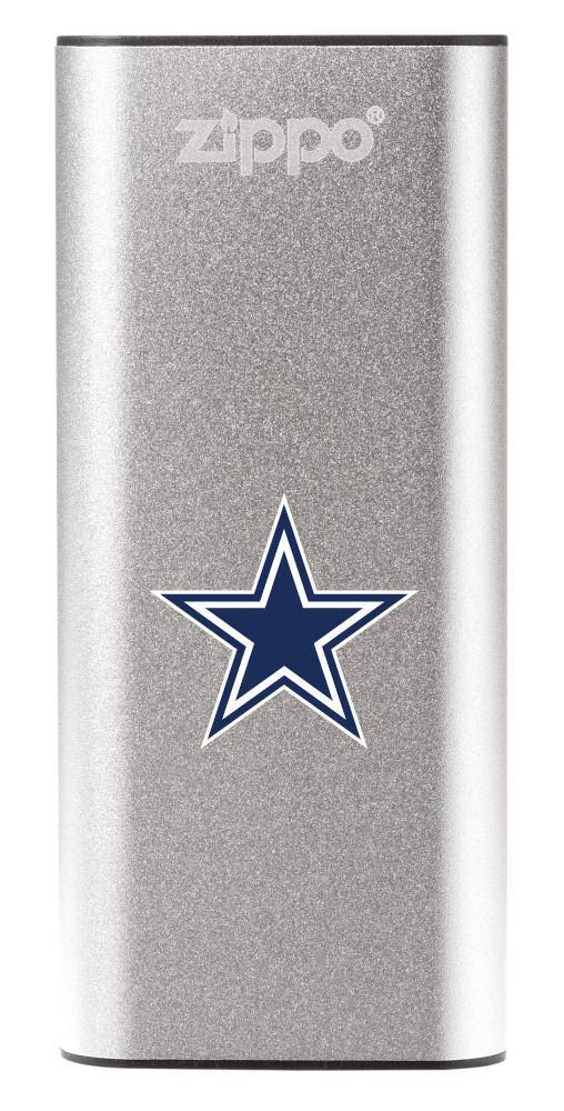 NFL Dallas Cowboys: HeatBank 3-Hour Rechargeable Hand Warmer front silver
