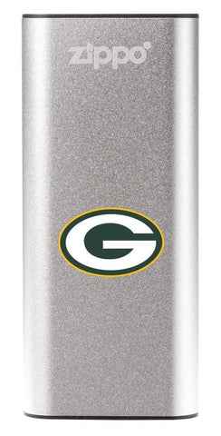 NFL Green Bay Packers: HeatBank 3-Hour Rechargeable Hand Warmer front silver