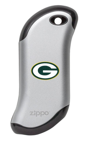 Front of silver NFL Green Bay Packers: HeatBank 9s Rechargeable Hand Warmer