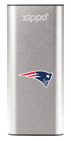 NFL New England Patriots: HeatBank 3-Hour Rechargeable Hand Warmer front silver