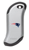 Front of silver NFL New England Patriots: HeatBank 9s Rechargeable Hand Warmer