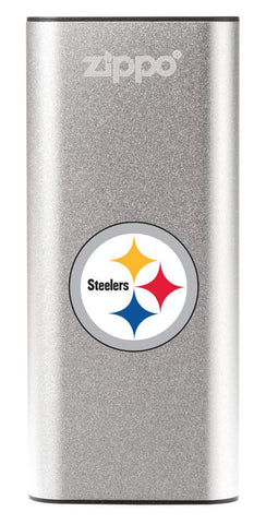 NFL Pittsburgh Steelers: HeatBank 3-Hour Rechargeable Hand Warmer front silver