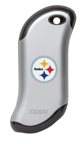 Front of silver NFL Pittsburgh Steelers: HeatBank 9s Rechargeable Hand Warmer