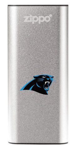 NFL Carolina Panthers: HeatBank 3-Hour Rechargeable Hand Warmer front silver