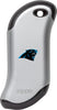 Front of silver NFL Carolina Panthers: HeatBank 9s Rechargeable Hand Warmer