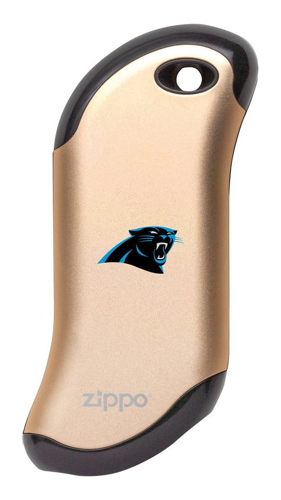 Front of champagne NFL Carolina Panthers: HeatBank 9s Rechargeable Hand Warmer