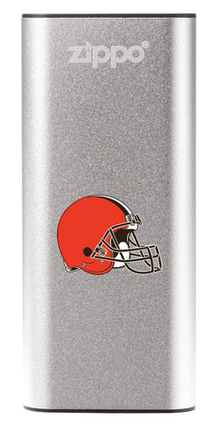 NFL Cleveland Browns: HeatBank 3-Hour Rechargeable Hand Warmer front silver