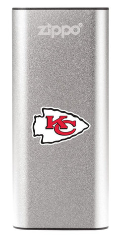 NFL Kansas City Chiefs: HeatBank 3-Hour Rechargeable Hand Warmer front silver