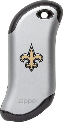 Front of silver NFL New Orleans Saints: HeatBank 9s Rechargeable Hand Warmer