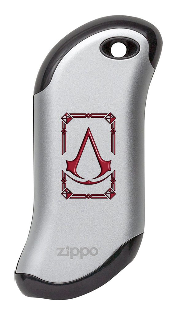 Front view of Silver Assassin's Creed® HeatBank® 9s Rechargeable Hand Warmer