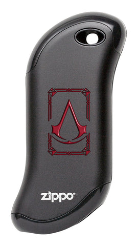 Front view of Black Assassin's Creed® HeatBank® 9s Rechargeable Hand Warmer