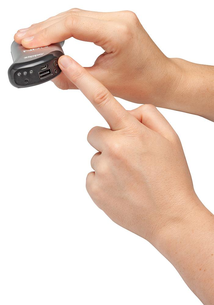 Silver NRG Chicago Huntsman Team: HeatBank® 9s Rechargeable Hand Warmer showing the on/off button