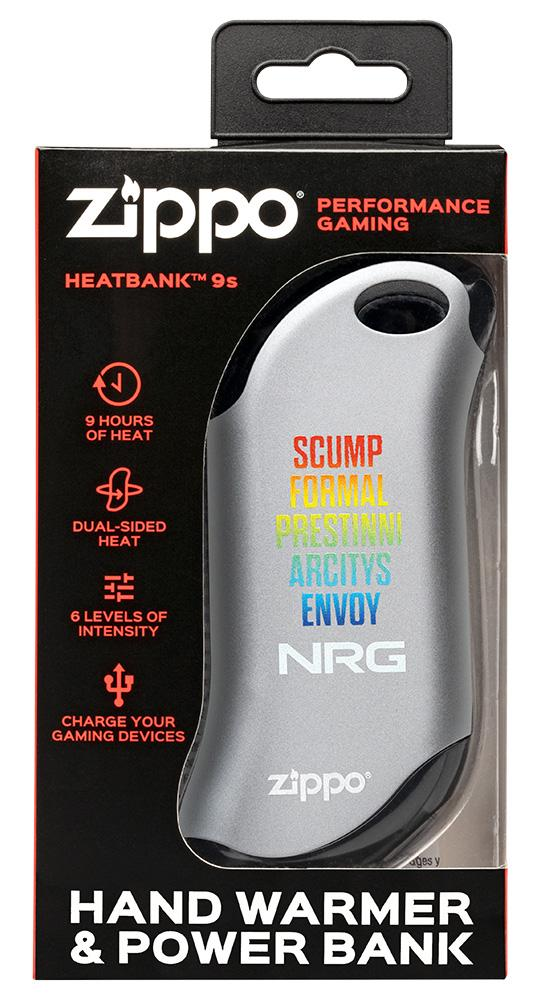 Silver NRG Chicago Huntsman Team: HeatBank® 9s Rechargeable Hand Warmer in packaging