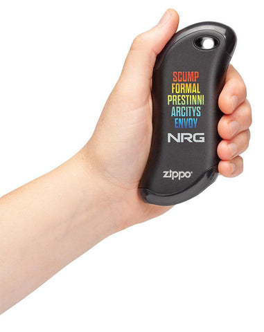 Black NRG Chicago Huntsman Team: HeatBank® 9s Rechargeable Hand Warmer in hand