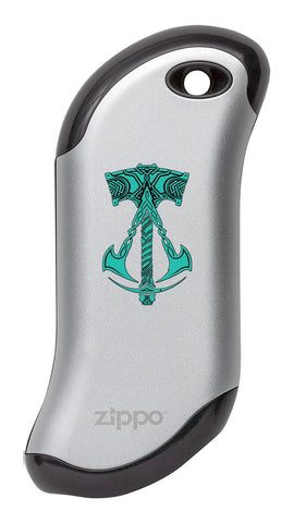 Silver Assassin's Creed® Valhalla Logo with Hammer: HeatBank® 9s Rechargeable Hand Warmer