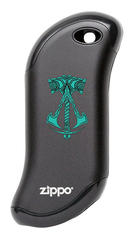 Black Assassin's Creed® Valhalla Logo with Hammer: HeatBank® 9s Rechargeable Hand Warmer