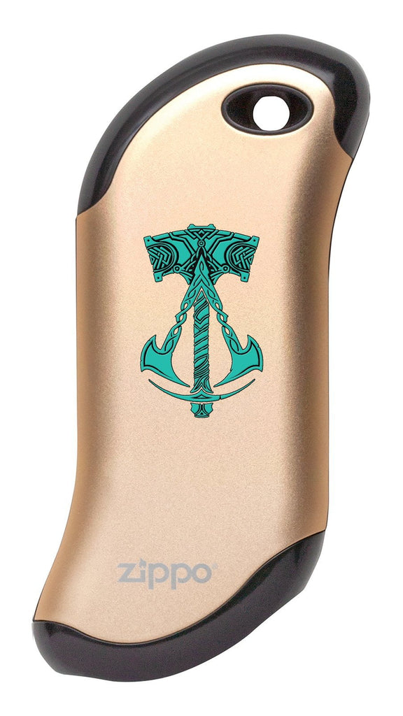 Champagne Assassin's Creed® Valhalla Logo with Hammer: HeatBank® 9s Rechargeable Hand Warmer