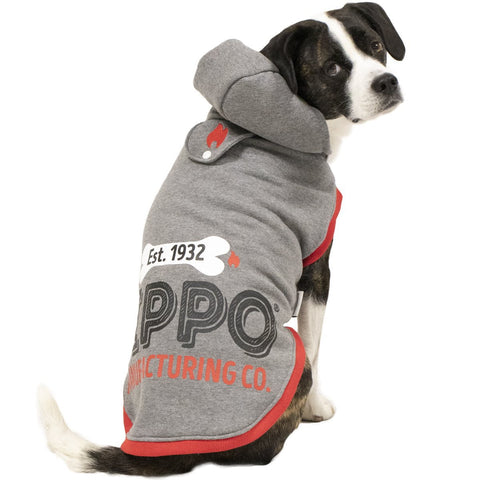 Grey Pet Hoodie on dog showing the back