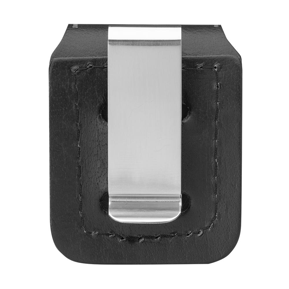 Back image of Black Lighter Pouch- Clip, showing the metal clip