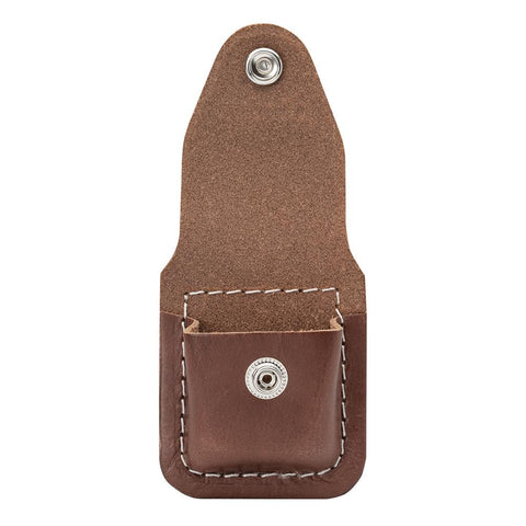 Brown Lighter Pouch- Clip with the clip and flap lifted open