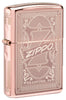 Front shot of Reimagine Zippo High Polish Rose Gold Windproof Lighter standing at a 3/4 angle