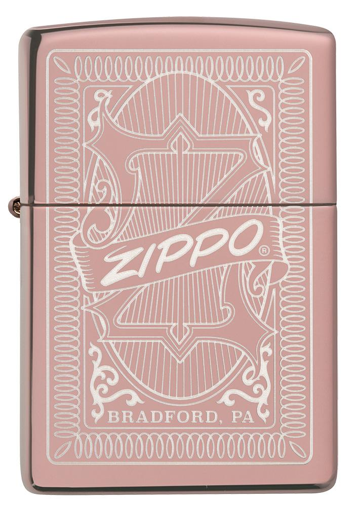 Front of Reimagine Zippo High Polish Rose Gold Windproof Lighter