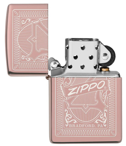 Reimagine Zippo High Polish Rose Gold Windproof Lighter with its lid open and unlit