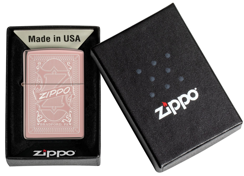 Reimagine Zippo High Polish Rose Gold Windproof Lighter in its premium one box packaging