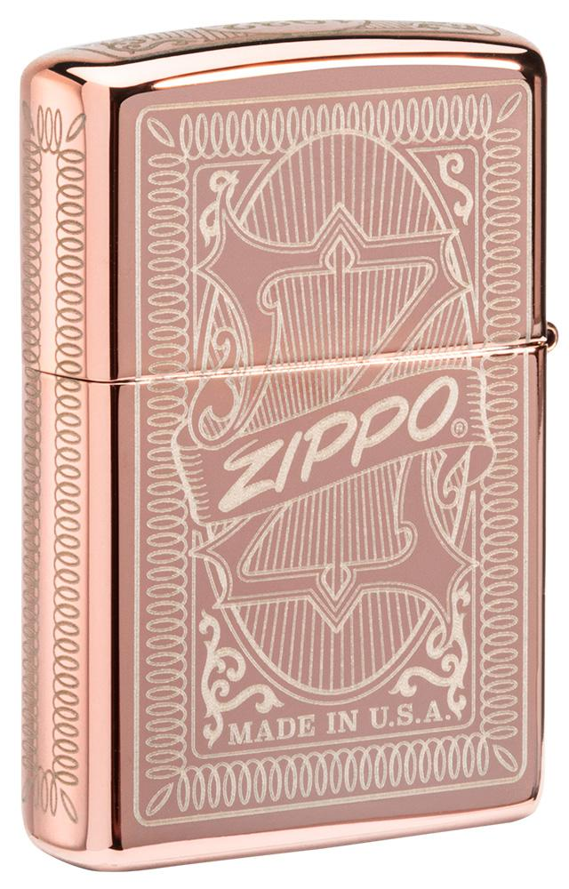 Back shot of Reimagine Zippo High Polish Rose Gold Windproof Lighter standing at a 3/4 angle