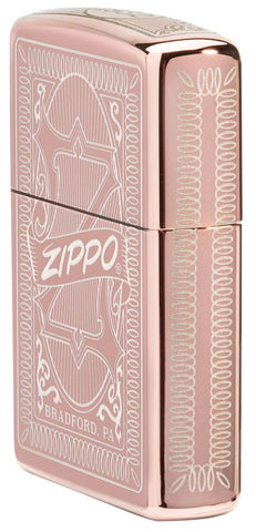 Reimagine Zippo High Polish Rose Gold Windproof Lighter standing at an angle, showing the front and right side of the lighter design