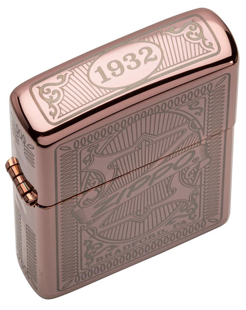 Top view shot of Reimagine Zippo High Polish Rose Gold Windproof Lighter, showing the engraving on the top of the lid.