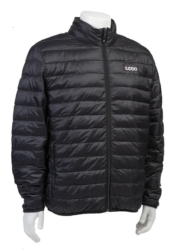 Zippo Men's Packable Down Jacket zipped up, showing at an angle