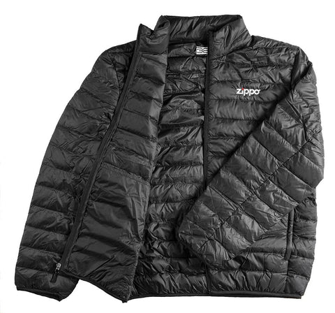 Zippo Men's Packable Down Jacket laying flat, unzipped with the jacket open and folded over.