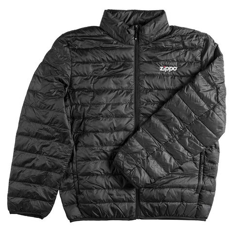 Zippo Men's Packable Down Jacket laying flat, with the sleeve folded over the front of the coat