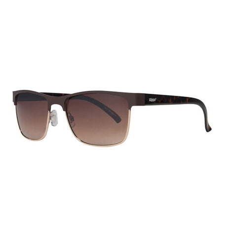 Gradient Brown Semi-Rimless Sunglasses